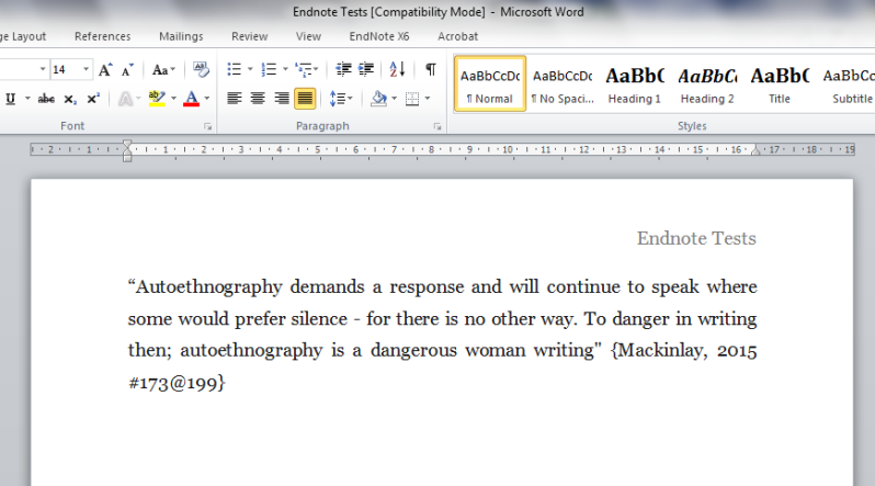 The EndNote Link Is Still There As It Was In Scrivener