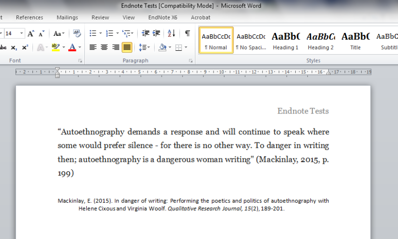 how to add a bibliography after endnotes in word