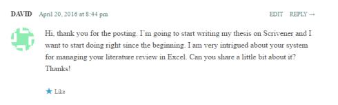 David comment on excel lit review