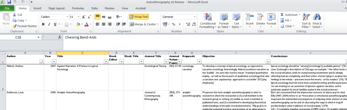 How I use Excel to manage my Literature Review